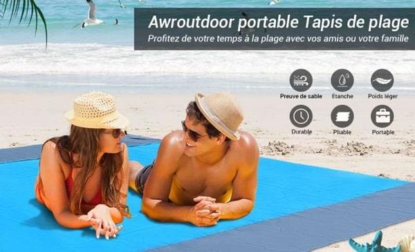 couverture de plage et pique nique grande taille 200 x 210 cm awroutdoor