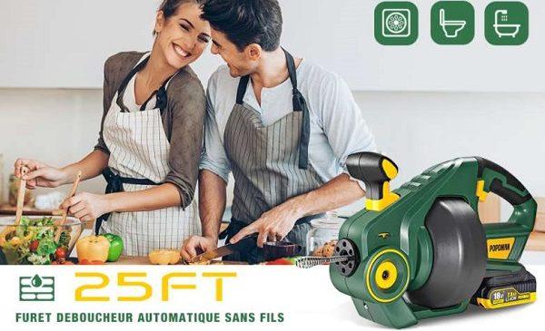 Déboucheur électrique De Canalisations Et Tuyauterie Portable Popoman 18v