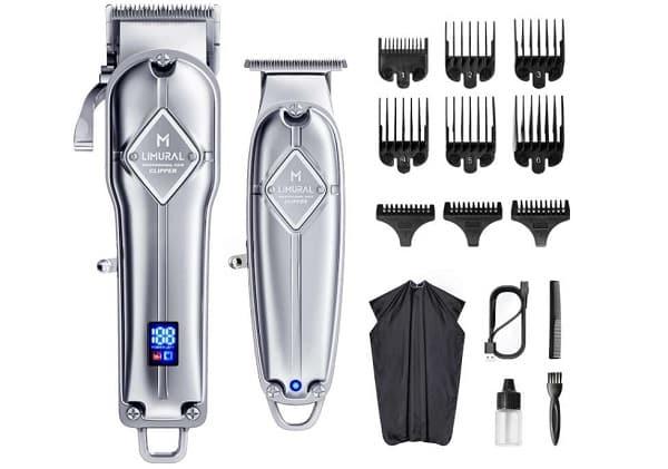 kit complet pro tondeuse cheveux + tondeuse barbe acier inoxydable rechargeable limural