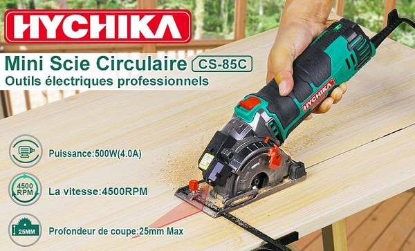 Petite Scie Circulaire Avec Guide Laser Hychika Ms 85c