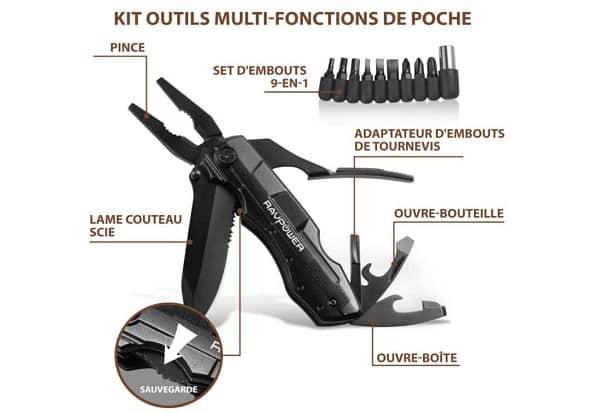 Pince Multifonctions 5 En 1 Couteau Suisse Et Adaptateur Tournevis Ravpower