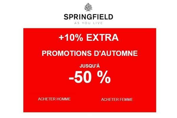 10% Supplémentaire Sur Les Promotions D'automne Springfield