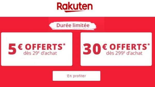 Remise De 5€ Sur Rakuten à Partir De 29€ Ou 30€ à Partir De 299€