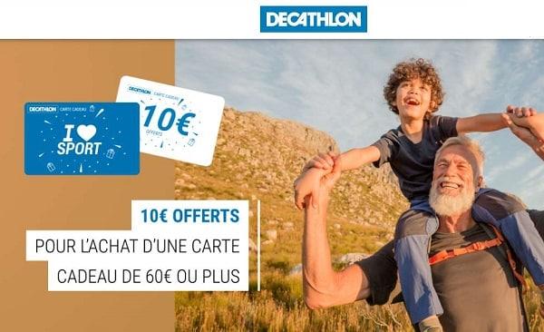 60 euros d'achat sur décathlon une carte cadeau de 10 euros