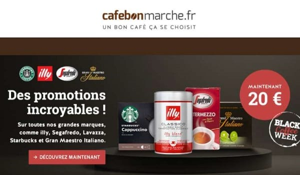 Black Coffee week Cafebonmarche : fortes remises sur des coffrets de café, café et machines ☕️