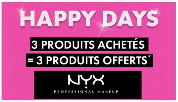C'est Les Happy Days De Nyx Avec Pour 3 Produits Achetés 3 Produits Offerts