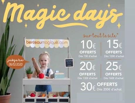 Magic Days de Berceau magique avec des remises de 10€ à 30€ parfaites avant Noël