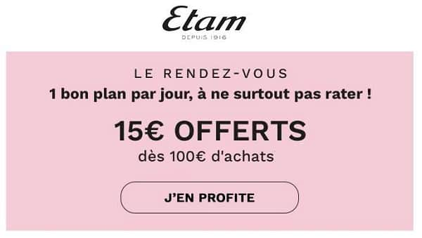Offre Flash Etam 15€ De Remise Dès 100€ D'achats