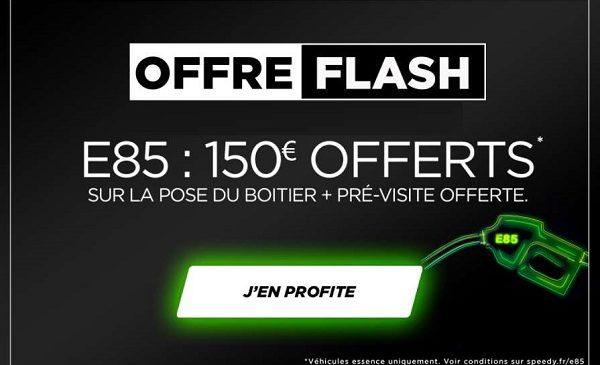 pré visite de compatibilité gratuite chez speedy 150€ offerts sur la pose d'un boîtier flexfuel e85