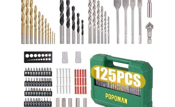 BRICO : 25,99€ le coffret de forets, embouts et mèches de 125 pièces Popoman MTH400 (port inclus)