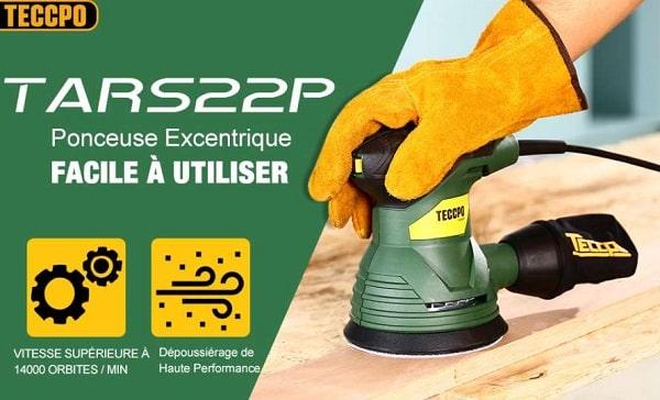 Ponceuse Excentrique 350w Teccpo Tars22p Avec Sac Poussière Et 12 Disques 125mm