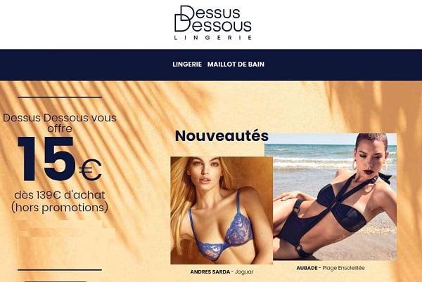 15€ de remise sur vos achats de lingerie sur dessus dessous dès 139€