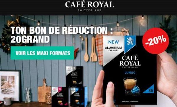 20% De Remise Sur Pack Maxi Formats 36 Capsules Compatible Nespresso Café Royal