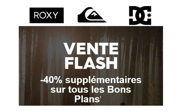 40% Supplémentaires Sur Tous Les Bons Plans Quiksilver Dc Shoes Roxy