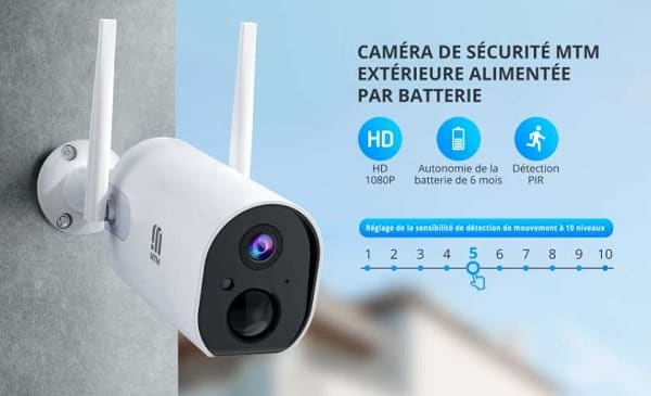 Caméra De Surveillance Extérieure Rechargeable Wi Fi Mtm