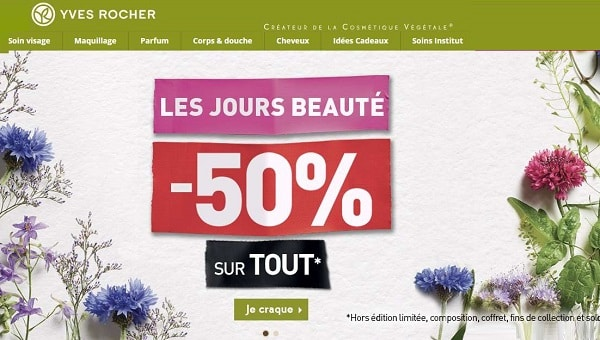 Les Jours Beauté Yves Rocher 50% Sur Tout (hors Exceptions)