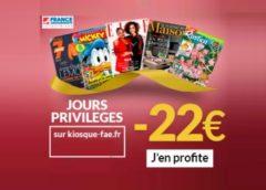 Les jours privilèges magazines ! -12€ ou -22€ de remise sur vos abonnements magazine pendant les pré-soldes France Abonnements