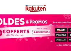 Soldes Rakuten :  10€ de remise à partir de 59€ sur tout