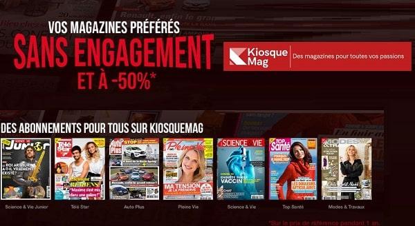 Vos magazines à moitié et sans engagement avec Kiosque Mag (Auto Plus, Télé Poche, Télé Magazine, Chasseur Français, Closer…)