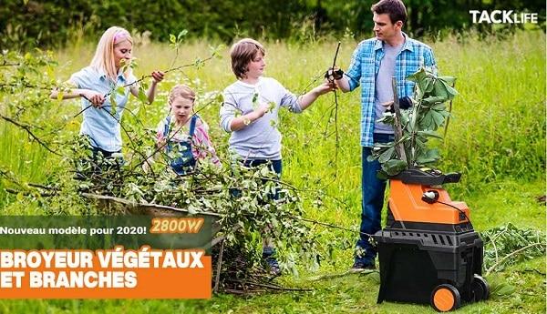 Broyeur De Végétaux Et Branches Avec Bac De Collecte Tacklifepws01a2800w