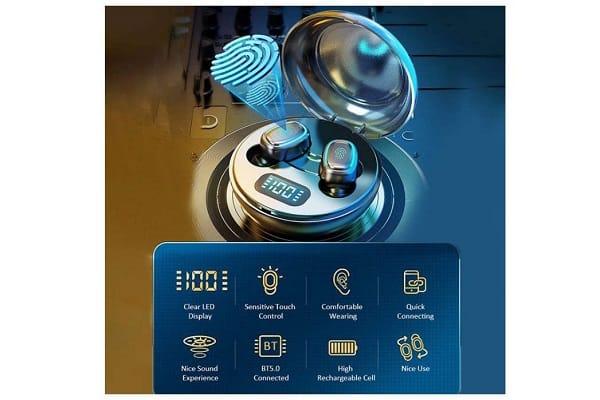 écouteurs Bluetooth 5.0 Sans Fil Decdeal Boitier De Charge Avec Affichage