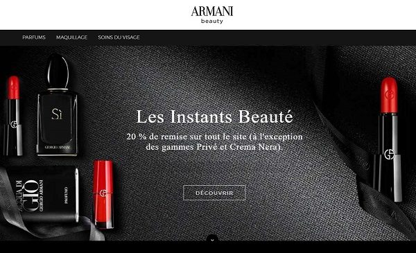 reduction sur le site officiel armani beauty