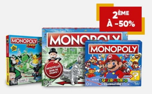 1 monopoly acheté = le second à moitié prix sur fnac