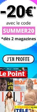 20€ de remise pour 2 magazines 10€ pour 1 magazine 120x600
