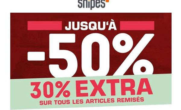 30% supplémentaires sur tous les articles déjà remisés sur snipes