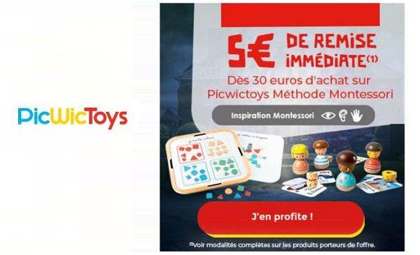 5€ de remise immédiate sur les jouets méthode montessori picwictoys