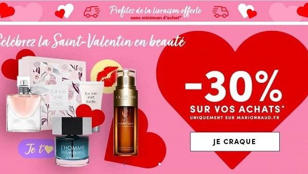 Saint Valentin Marionnaud 30% Sur Vos Achats + Livraison Gratuite