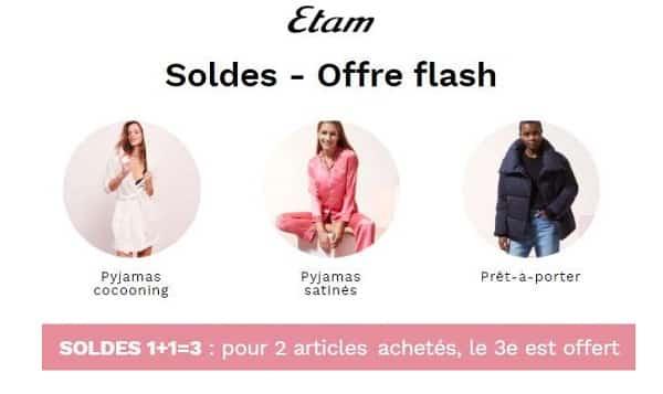 Soldes Etam Offre Flash 2 Achetés = Le 3éme Offerts