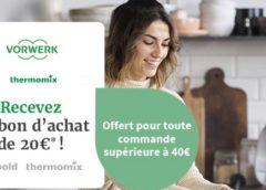 Un achat sur la boutique en ligne Thermomix de 40€ (accessoires, livres…) = bon d'achat de 20€ offert