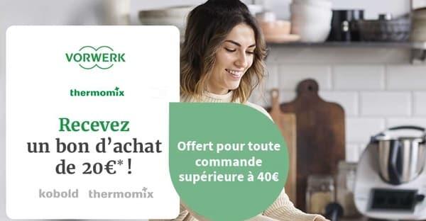 un achat sur la boutique en ligne thermomix de 40€ bon d'achat de 20€ offert