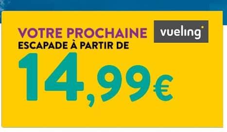 billet d'avion vueling pas cher à partir de 14,99€