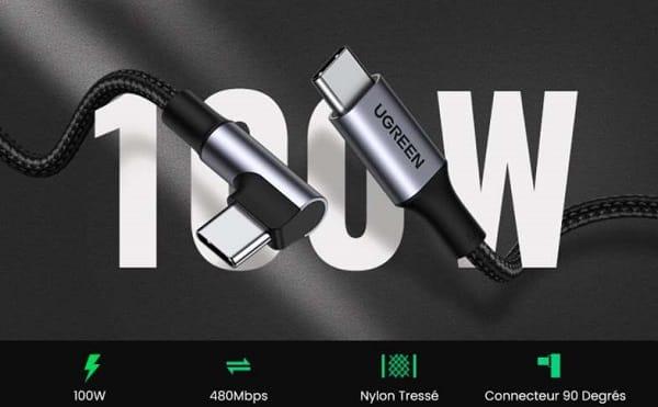câble de 2 mètres USB C vers USB C coudée UGREEN 5A 100W