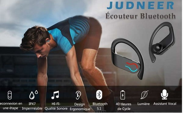 écouteurs sport bluetooth judneer étanche ipx7 hi fi ergonomique