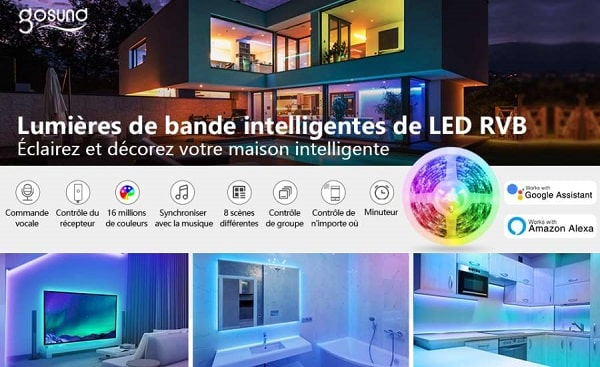 ruban led wifi gosund 5m (contrôle via appli, google home, amazon alexa, mode musique