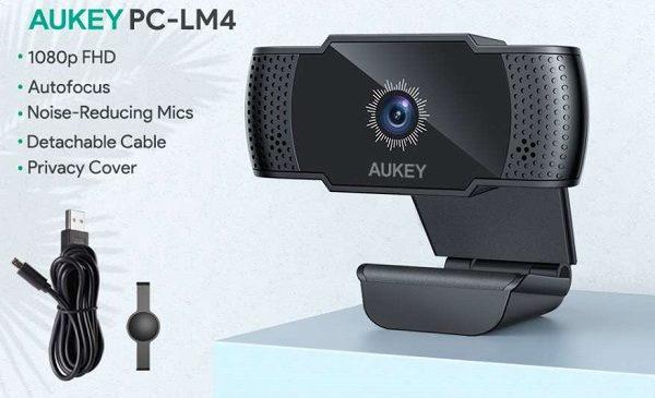 Webcam Full Hd 5 Mp 1080p Avec Mise Au Point Automatique Et Micro Aukey Pc Lm4