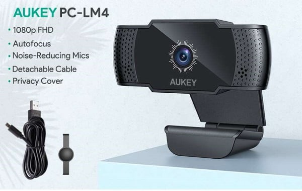 Webcam Full Hd 5 Mp 1080p Avec Mise Au Point Automatique Et Micro Aukey Pc Lm4
