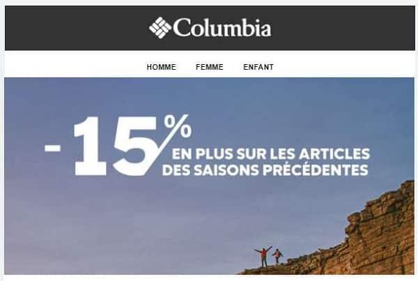 15% de remise supplémentaire sur les bonnes affaires columbia