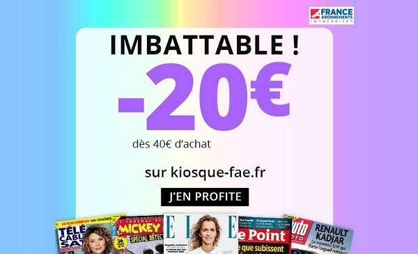 20€ de remise supplémentaire sur les abonnements revue ou magazine sur france abonnement