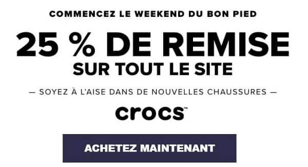 25% de réduction sur le site crocs + livraison gratuite
