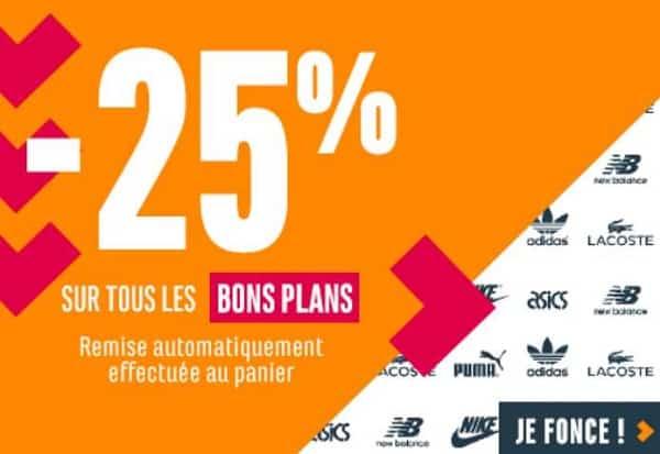 25% de remise supplémentaire sur les bons plans chausport