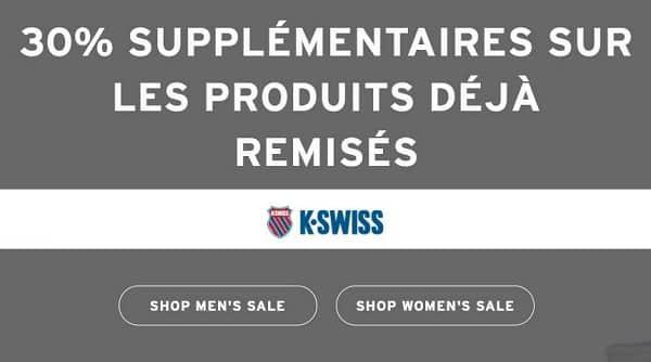 30% de remise sur tout les articles en promotion sur k swiss