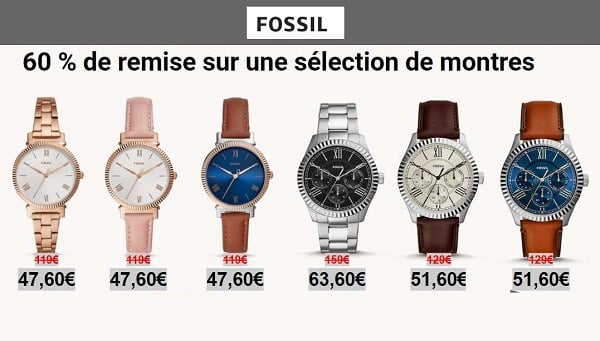 60% de remise sur une sélection de montres fossil pour femme et homme