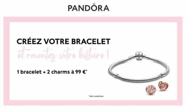 bracelet pandora à prix réduit = 1 bracelet + 2 charms à 99 €