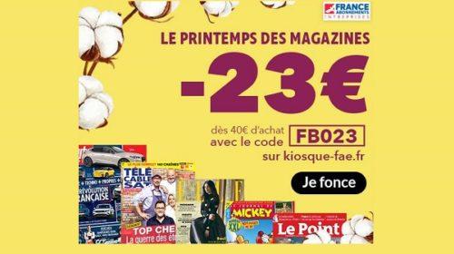 des rabais de 23€ en plus sur les abonnements magazines avec ce nouveau code promo printemps des magazines