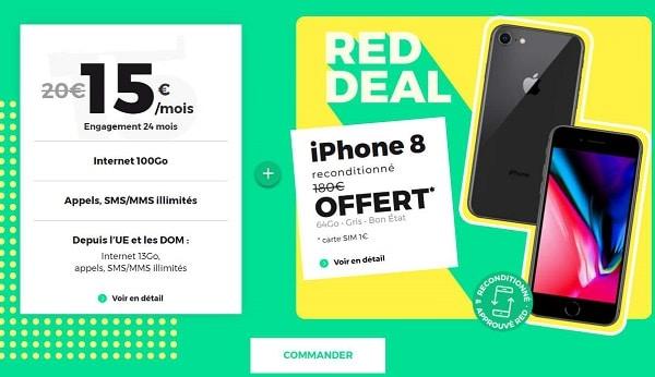 forfait red 100go + iphone 8 reconditionné gratuit