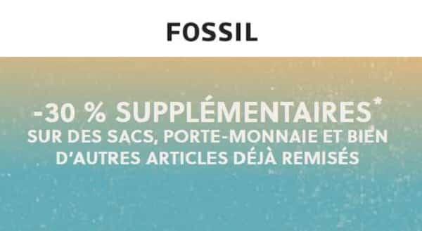 offre flash fossil 30% de remise supplémentaire sur des sacs, porte monnaie et autres